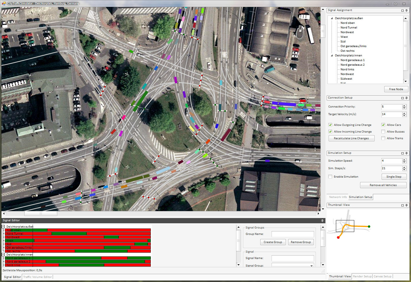 CityTrafficSimulator modeling a large intersection in downtown Hamburg.